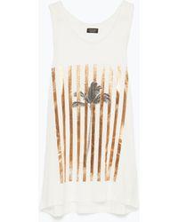 Zara Sleeveless T-Shirt white - Lyst