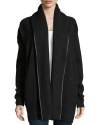 Vince Wool-Blend Leather-Trimmed Cardigan - Lyst