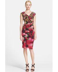 Jean Paul Gaultier Cap Sleeve Floral Tulle Dress - Lyst