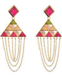 Isharya - Pyramid Quartz Drape Earrings - Lyst