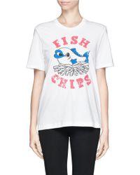 Markus Lupfer British Fish  Chips Sequin Alex Tshirt - Lyst