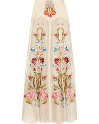 Temperley London Toledo Floral Embroidered Silk Blend Organza Maxi Skirt - Lyst