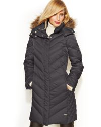 Kenneth Cole Reaction Petite Hooded Fauxfurtrim Down Puffer Coat - Lyst