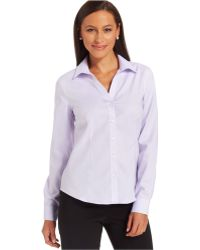 Jones New York Petite Easy-Care Button-Down Cotton Shirt - Lyst