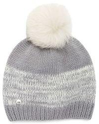 UGG - Australia Genuine Shearling Pom Marled Knit Beanie - Lyst