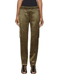 Balmain Khaki Silk Cargo Lounge Pants - Lyst