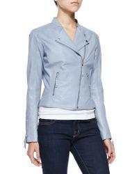 Lamarque Asymmetric-Zip Leather Moto Jacket - Lyst