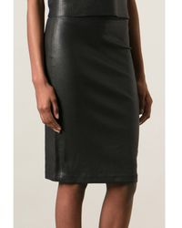 Helmut Lang Stretch Leather Pencil Skirt - Lyst