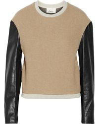 3.1 Phillip Lim Leather-Sleeved Wool-Blend Sweater - Lyst