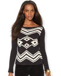 Lauren by Ralph Lauren Cotton Blend Boatneck Sweater - Lyst