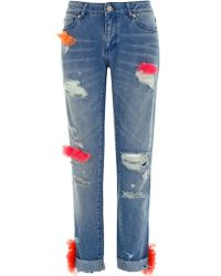 House of Holland Distressed Boyfriend Jeans - Lyst