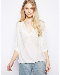 Wal-G - Wrap Front Blouse with Sequin Shoulder - Lyst