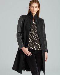 Adrianna Papell - Long Fitted Coat with Leather Trim - Lyst