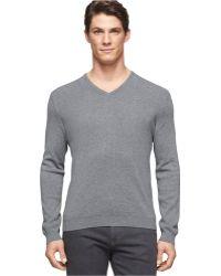 Calvin Klein V-neck Cotton-modal Sweater - Lyst