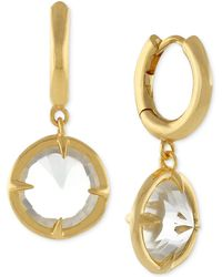 Vince Camuto - Gold-tone Crystal Dangle Hoop Earrings - Lyst