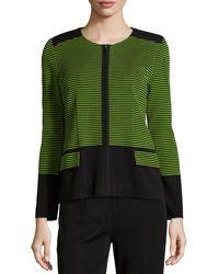 Misook Textured Stripe Jacket - Lyst