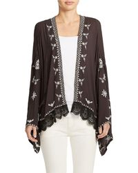 Free People Embroidered Open Front Kimono - Lyst