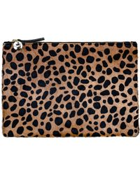 Clare Vivier Flat Clutch In Leopard Hair - Lyst