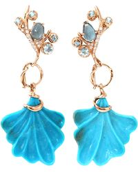 Federica Rettore - Petalo Earrings With Engraved Turquoise - Lyst