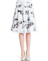 Jil Sander Abstract-print Elastic-waist Cotton Skirt - Lyst