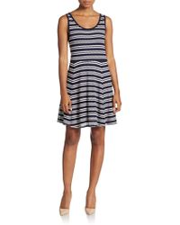 Dex - Striped Pointelle-knit Dress - Lyst