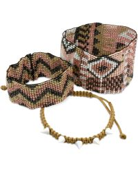 Steve Madden Patterned Seed Bead And Spike Macrame Bracelet Trio brown - Lyst