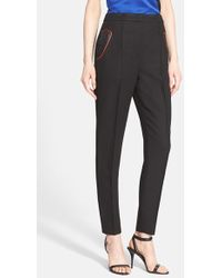Alexander Wang High Waist Tailored Pants With Leather Detail - Lyst