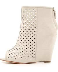Rebecca Minkoff Sienna Perforated Wedge Booties - Putty - Lyst