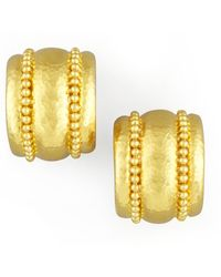 Elizabeth Locke - Amalfi Granulated 19k Gold Huggie Earrings - Lyst