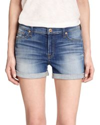 7 For All Mankind Roll-Up Denim Shorts blue - Lyst