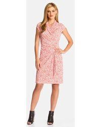 Karen Kane Cascade Faux-Wrap Dress pink - Lyst