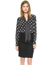 Equipment Penelope Blouse with Contrast - True Black - Lyst