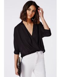 Missguided Wrap Front Dropped Hem Blouse Black - Lyst