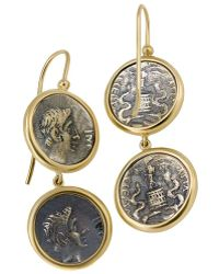 1884 Collection - 1884 - 'appia' 18k Yellow Gold Earrings W/4 Small Ottaviano Coins - Lyst