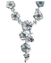 Palmbeach Jewelry - Flower-shaped Black Freshwater Mother-of-pearl Silvertone ''y'' Necklace 18'' - Lyst