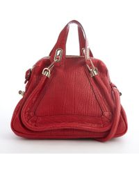 Chloé Red Leather Paraty Convertible Top Handle Satchel - Lyst