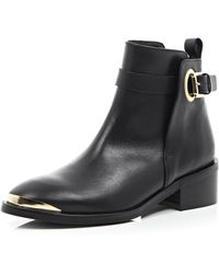 River Island Black Leather Metal Trim Ankle Boots - Lyst