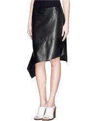 Reed Krakoff Flounce Hem Leather Skirt - Lyst