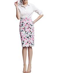 Carolina Herrera Sparrow Love Letter Printed Pencil Skirt Pinkmulti - Lyst