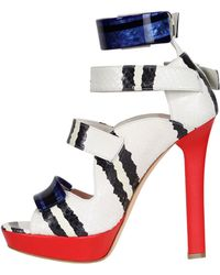 Alexander McQueen 130Mm Snake Leather Sandals - Lyst
