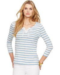 Lauren by Ralph Lauren Striped Lace-Up Shirt - Lyst