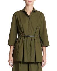 Piazza Sempione Belted Three-Quarter Sleeve Stretch-Cotton Jacket - Lyst
