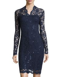 Marina Long-Sleeve V-Neck Lace Cocktail Dress - Lyst