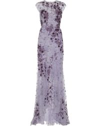 Monique Lhuillier Lavender Ombre Lace Embroidered Gown - Lyst