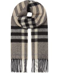 Burberry Cashmere Checked Scarf - Lyst