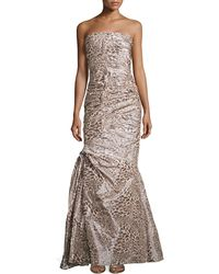 ML Monique Lhuillier Strapless Gown with Ruching - Lyst