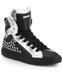 DSquared² Studded Leather High-Top Sneakers - Lyst