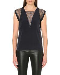 Maje Lace Insert Crepe Top - Lyst