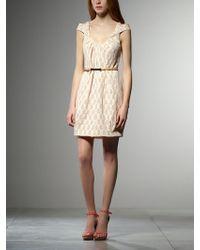 Patrizia Pepe Short Dress In Jacquard Cotton - Lyst