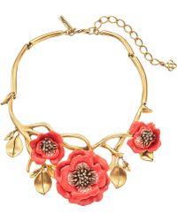 Oscar de la Renta Painted Flower Necklace - Lyst